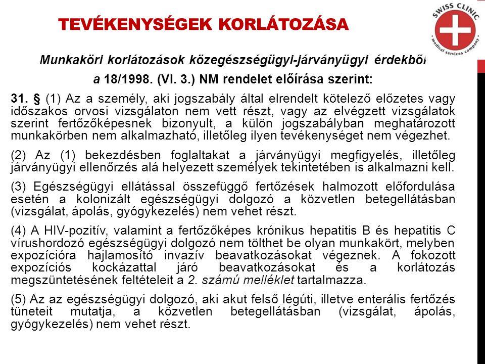 TEVÉKENYSÉGEK KORLÁTOZÁSA Munkaköri korlátozások közegészségügyi-járványügyi érdekből a 18/1998.