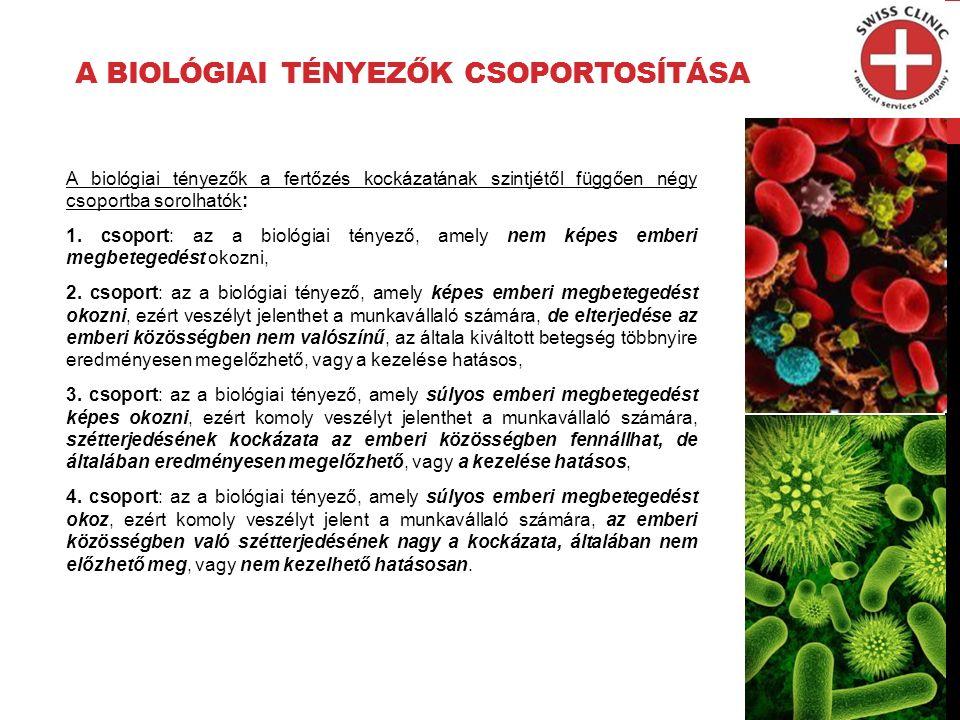 A BIOLÓGIAI TÉNYEZŐK CSOPORTOSÍTÁSA A biológiai tényezők a fertőzés kockázatának szintjétől függően négy csoportba sorolhatók: 1.