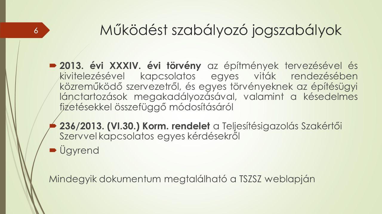 Működést szabályozó jogszabályok  2013. évi XXXIV.