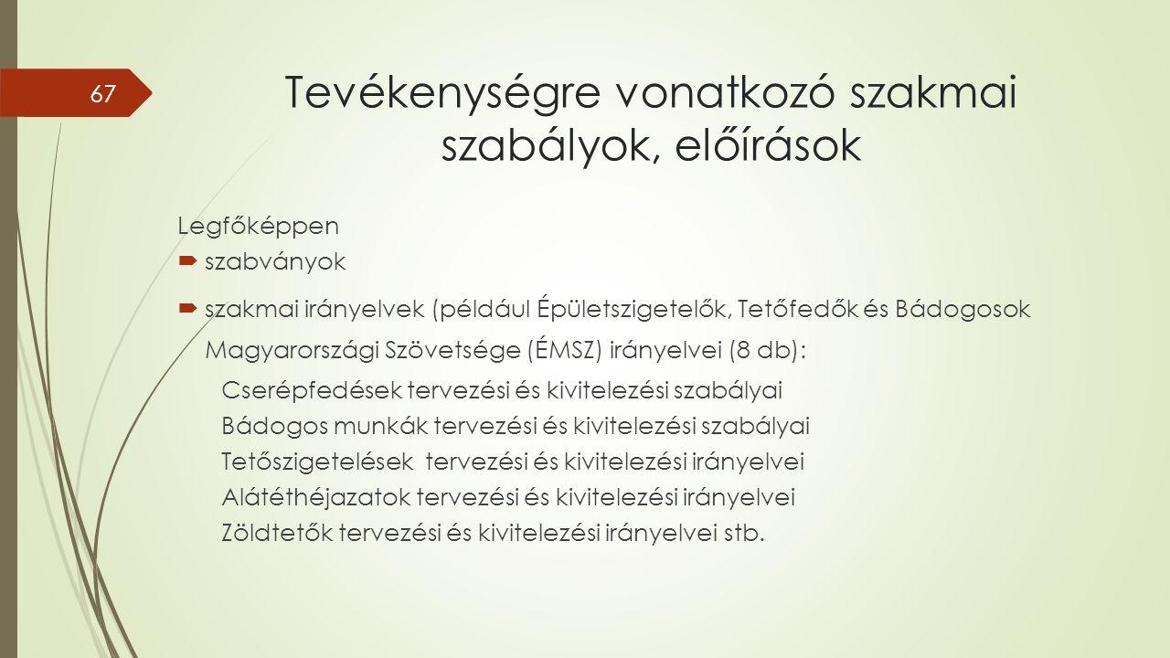 Tevékenységre vonatkozó szakmai szabályok, előírások Legfőképpen  szabványok  szakmai irányelvek (például Épületszigetelők, Tetőfedők és Bádogosok Magyarországi Szövetsége (ÉMSZ) irányelvei (8 db): Cserépfedések tervezési és kivitelezési szabályai Bádogos munkák tervezési és kivitelezési szabályai Tetőszigetelések tervezési és kivitelezési irányelvei Alátéthéjazatok tervezési és kivitelezési irányelvei Zöldtetők tervezési és kivitelezési irányelvei stb.