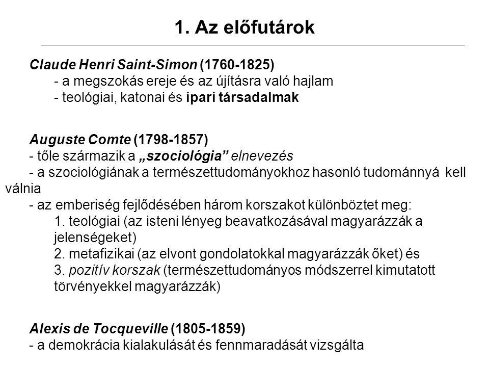 1. Az előfutárok Claude Henri Saint-Simon (1760-1825) - a megszokás ereje és az újításra való hajlam - teológiai, katonai és ipari társadalmak Auguste
