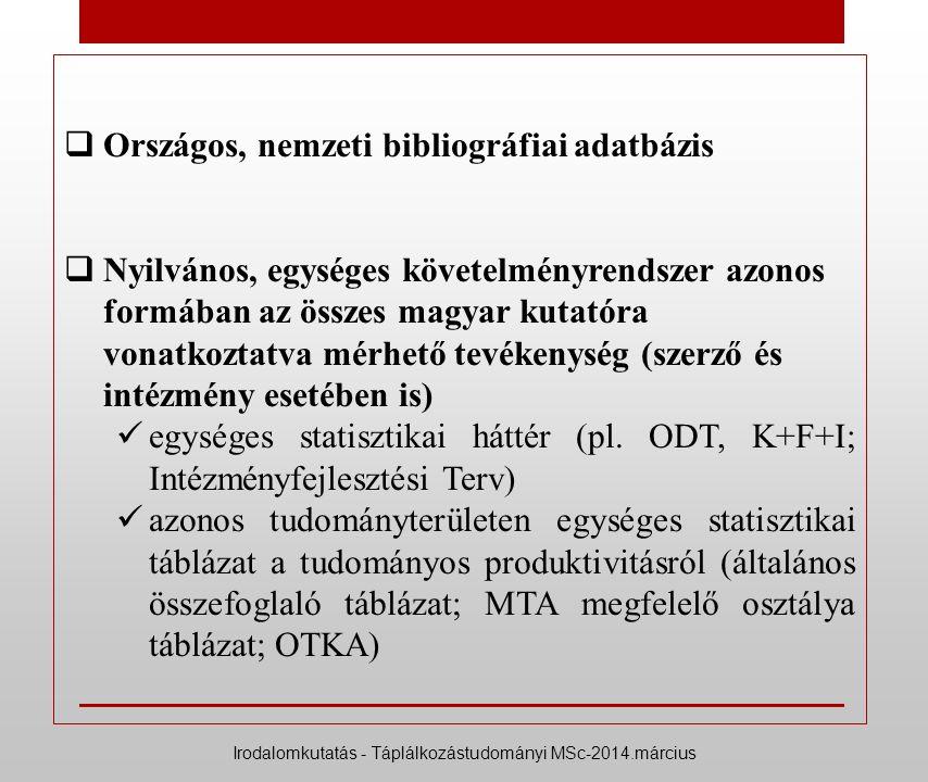  Országos, nemzeti bibliográfiai adatbázis  Nyilvános, egységes követelményrendszer azonos formában az összes magyar kutatóra vonatkoztatva mérhető tevékenység (szerző és intézmény esetében is) egységes statisztikai háttér (pl.