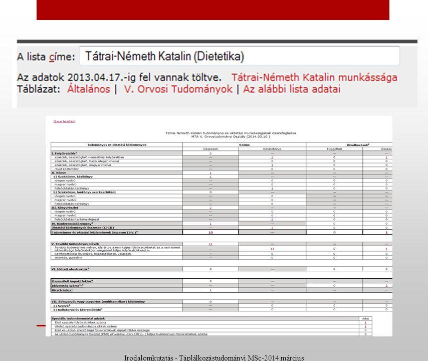 MTMT Összesítő táblázatok Irodalomkutatás - Táplálkozástudományi MSc-2014.március