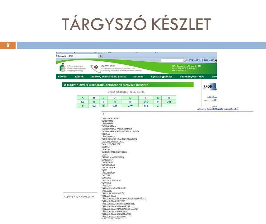 TÁRGYSZÓ KÉSZLET 9
