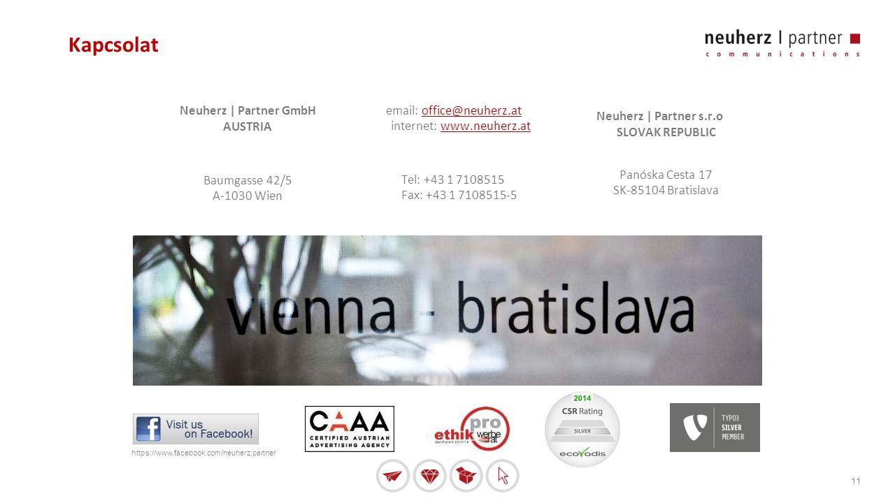 11 Kapcsolat Neuherz | Partner GmbH AUSTRIA Baumgasse 42/5 A-1030 Wien email: office@neuherz.at internet: www.neuherz.atoffice@neuherz.atwww.neuherz.at Tel: +43 1 7108515 Fax: +43 1 7108515-5 Neuherz | Partner s.r.o SLOVAK REPUBLIC Panóska Cesta 17 SK-85104 Bratislava https://www.facebook.com/neuherz.partner