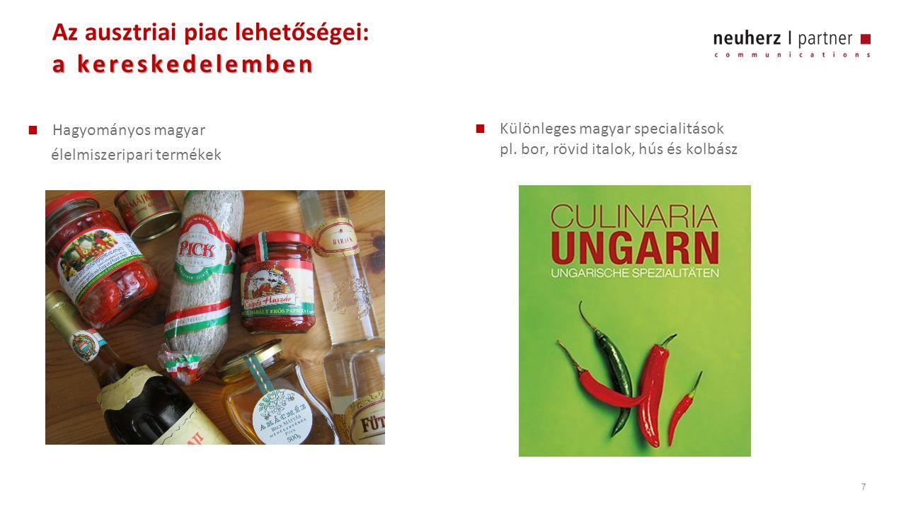 7 a kereskedelemben Az ausztriai piac lehetőségei: a kereskedelemben Hagyományos magyar élelmiszeripari termékek Különleges magyar specialitások pl.
