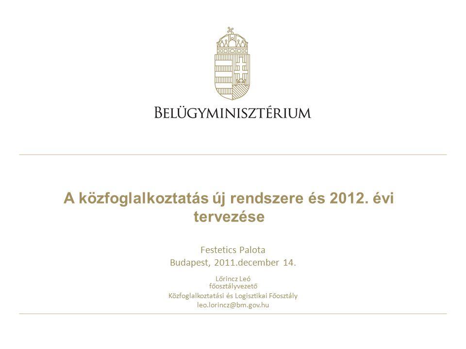A közfoglalkoztatás új rendszere és 2012.