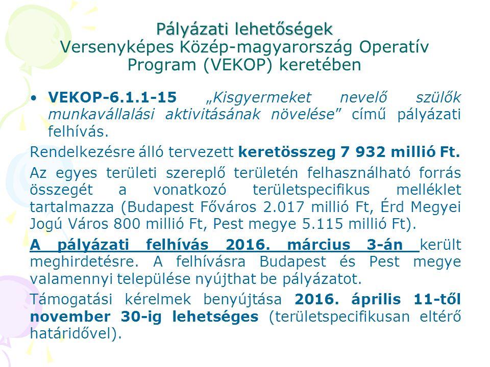 """Pályázati lehetőségek Pályázati lehetőségek Versenyképes Közép-magyarország Operatív Program (VEKOP) keretében VEKOP-6.1.1-15 """"Kisgyermeket nevelő szülők munkavállalási aktivitásának növelése című pályázati felhívás."""