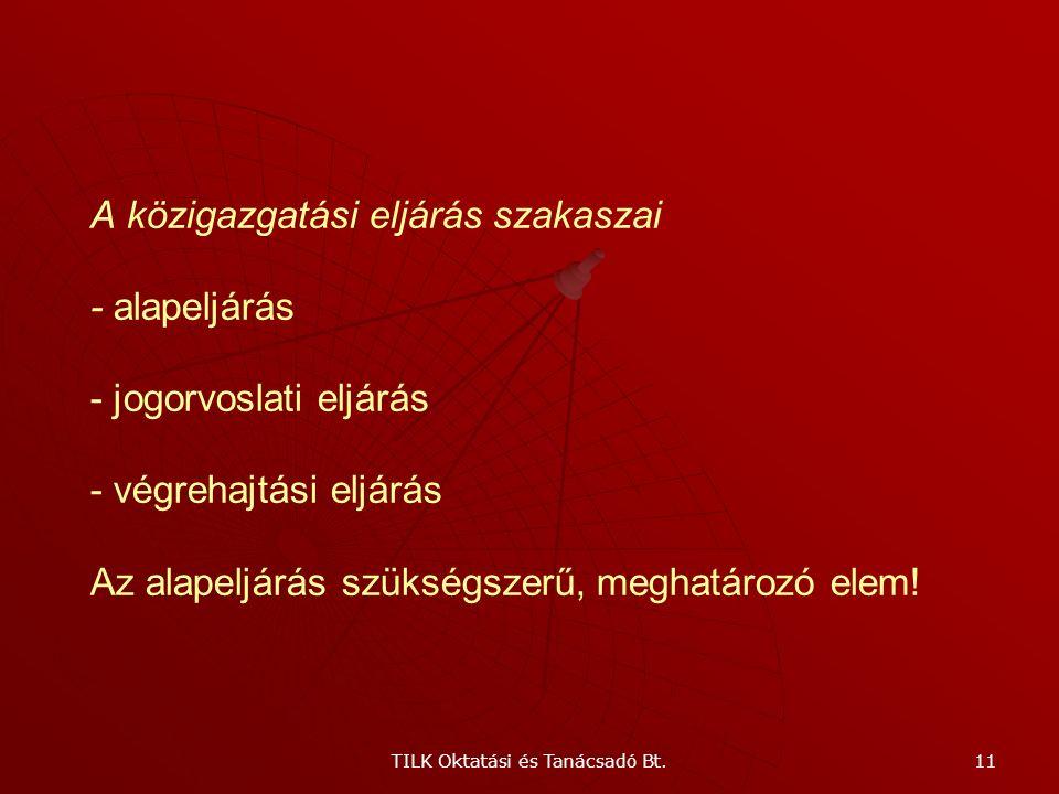 TILK Oktatási és Tanácsadó Bt. 10 A közigazgatási eljárás Az eljárás alanyai - ügyfél - közigazgatási szerv (hatóság)