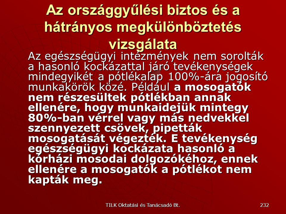 TILK Oktatási és Tanácsadó Bt. 231 Az országgyűlési biztos és a hátrányos megkülönböztetés vizsgálata Kormányrendelet különbséget tett a vakok, illetv