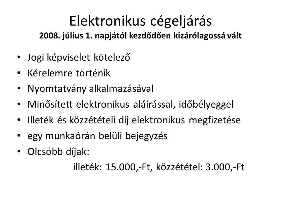 Elektronikus cégeljárás 2008. július 1.