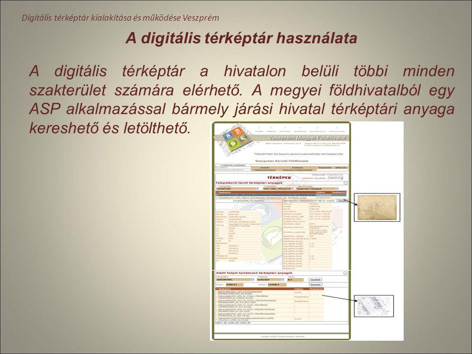Digitális térképtár kialakítása és működése Veszprém Informatikai fejlesztések Hardver fejlesztések. (2008) Földhivatalok belső hálózatát Gbyte-os áte