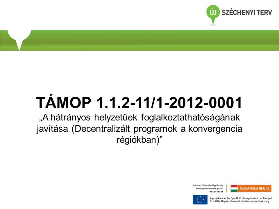 """TÁMOP 1.1.2-11/1-2012-0001 """"A hátrányos helyzetűek foglalkoztathatóságának javítása (Decentralizált programok a konvergencia régiókban)"""