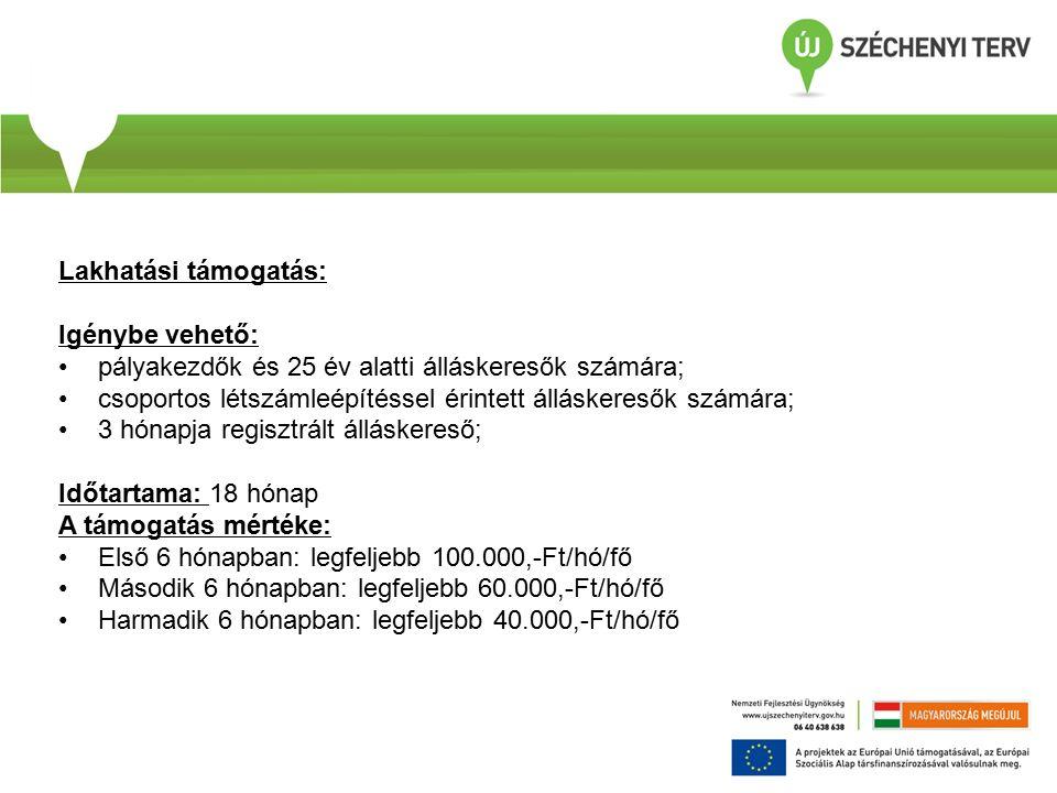 Lakhatási támogatás: Igénybe vehető: pályakezdők és 25 év alatti álláskeresők számára; csoportos létszámleépítéssel érintett álláskeresők számára; 3 hónapja regisztrált álláskereső; Időtartama: 18 hónap A támogatás mértéke: Első 6 hónapban: legfeljebb 100.000,-Ft/hó/fő Második 6 hónapban: legfeljebb 60.000,-Ft/hó/fő Harmadik 6 hónapban: legfeljebb 40.000,-Ft/hó/fő