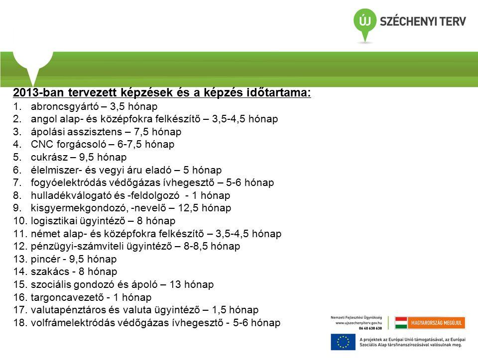 2013-ban tervezett képzések és a képzés időtartama: 1.abroncsgyártó – 3,5 hónap 2.angol alap- és középfokra felkészítő – 3,5-4,5 hónap 3.ápolási asszisztens – 7,5 hónap 4.CNC forgácsoló – 6-7,5 hónap 5.cukrász – 9,5 hónap 6.élelmiszer- és vegyi áru eladó – 5 hónap 7.fogyóelektródás védőgázas ívhegesztő – 5-6 hónap 8.hulladékválogató és -feldolgozó - 1 hónap 9.kisgyermekgondozó, -nevelő – 12,5 hónap 10.logisztikai ügyintéző – 8 hónap 11.német alap- és középfokra felkészítő – 3,5-4,5 hónap 12.pénzügyi-számviteli ügyintéző – 8-8,5 hónap 13.pincér - 9,5 hónap 14.szakács - 8 hónap 15.szociális gondozó és ápoló – 13 hónap 16.targoncavezető - 1 hónap 17.valutapénztáros és valuta ügyintéző – 1,5 hónap 18.volfrámelektródás védőgázas ívhegesztő - 5-6 hónap
