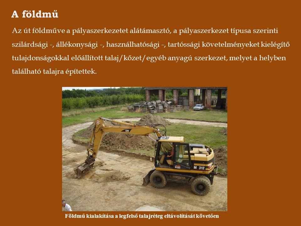 A földmű Az út földműve a pályaszerkezetet alátámasztó, a pályaszerkezet típusa szerinti szilárdsági -, állékonysági -, használhatósági -, tartóssági követelményeket kielégítő tulajdonságokkal előállított talaj/kőzet/egyéb anyagú szerkezet, melyet a helyben található talajra építettek.