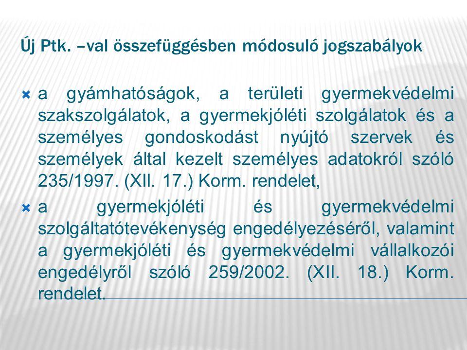 Új Ptk. –val összefüggésben módosuló jogszabályok  a gyámhatóságok, a területi gyermekvédelmi szakszolgálatok, a gyermekjóléti szolgálatok és a szemé