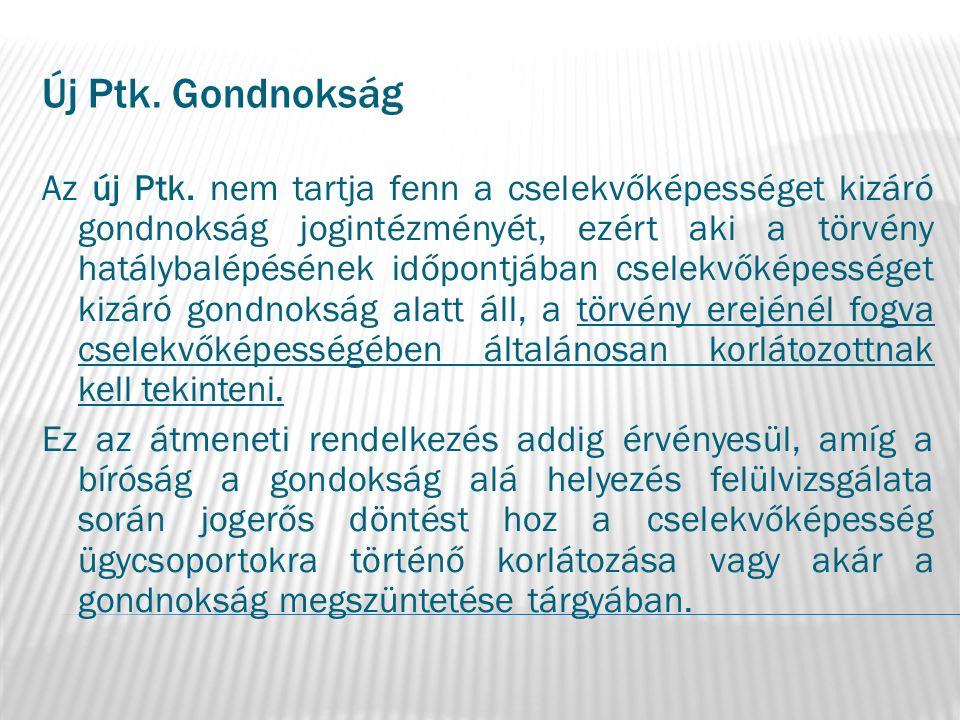 Új Ptk. Gondnokság Az új Ptk.