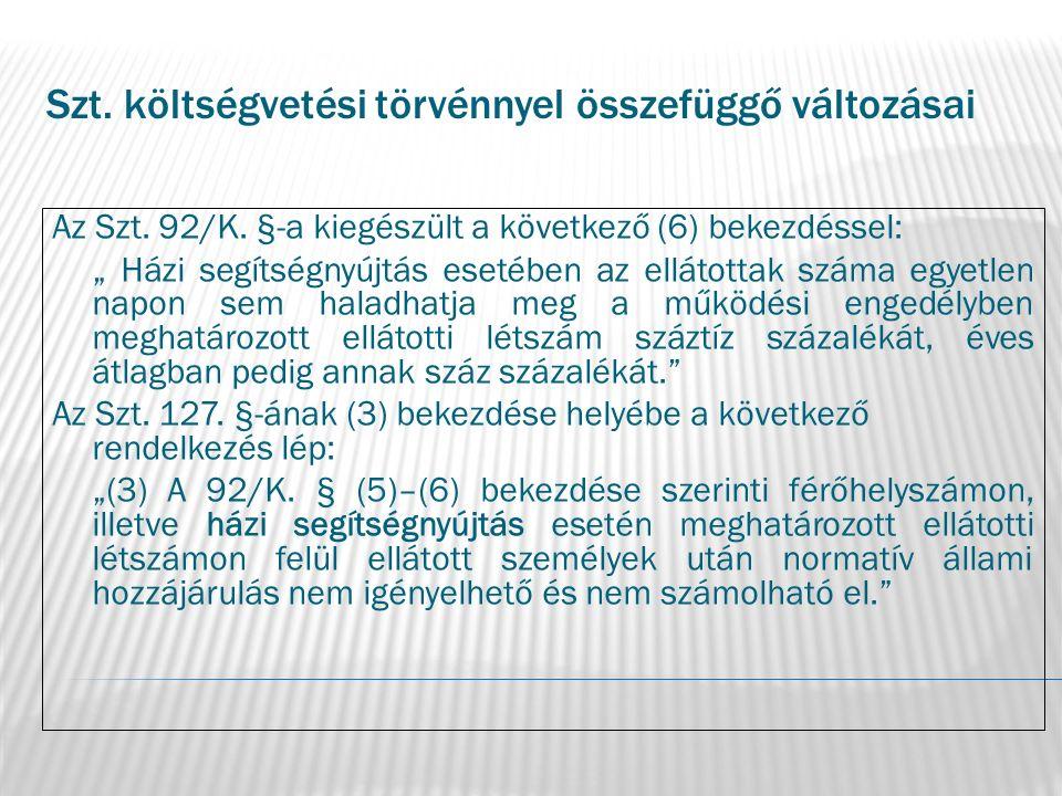 """Szt. költségvetési törvénnyel összefüggő változásai Az Szt. 92/K. §-a kiegészült a következő (6) bekezdéssel: """" Házi segítségnyújtás esetében az ellát"""