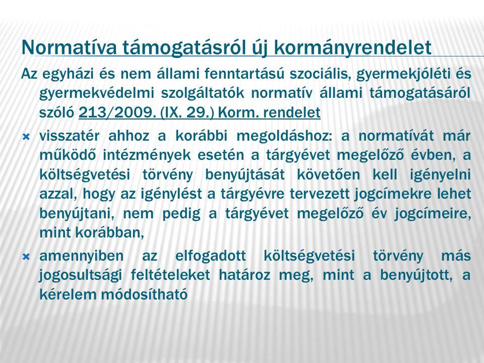 Normatíva támogatásról új kormányrendelet Az egyházi és nem állami fenntartású szociális, gyermekjóléti és gyermekvédelmi szolgáltatók normatív állami támogatásáról szóló 213/2009.