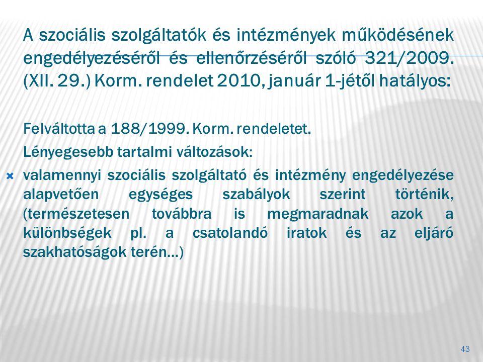 A szociális szolgáltatók és intézmények működésének engedélyezéséről és ellenőrzéséről szóló 321/2009. (XII. 29.) Korm. rendelet 2010, január 1-jétől