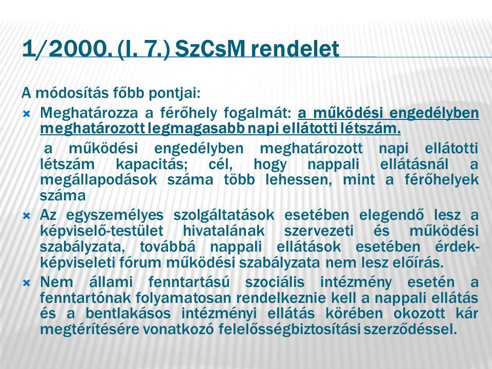 1/2000. (I. 7.) SzCsM rendelet A módosítás főbb pontjai:  Meghatározza a férőhely fogalmát: a működési engedélyben meghatározott legmagasabb napi ell