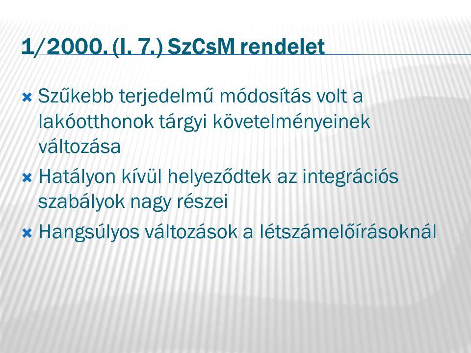 1/2000. (I. 7.) SzCsM rendelet  Szűkebb terjedelmű módosítás volt a lakóotthonok tárgyi követelményeinek változása  Hatályon kívül helyeződtek az in