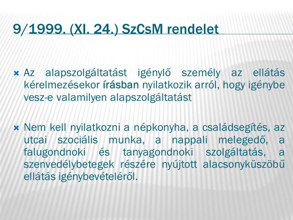 9/1999. (XI. 24.) SzCsM rendelet  Az alapszolgáltatást igénylő személy az ellátás kérelmezésekor írásban nyilatkozik arról, hogy igénybe vesz-e valam
