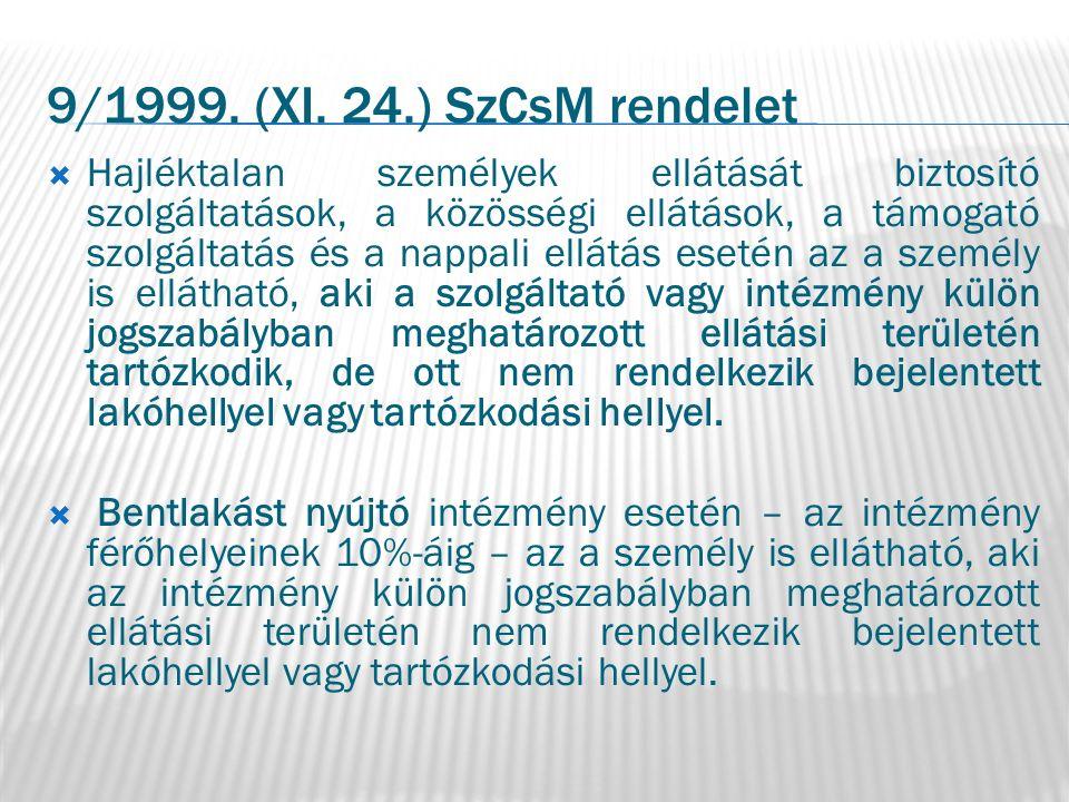 9/1999. (XI. 24.) SzCsM rendelet  Hajléktalan személyek ellátását biztosító szolgáltatások, a közösségi ellátások, a támogató szolgáltatás és a nappa