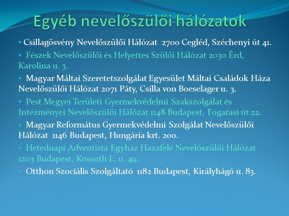 Csillagösvény Nevelőszülői Hálózat 2700 Cegléd, Széchenyi út 41. Fészek Nevelőszülői és Helyettes Szülői Hálózat 2030 Érd, Karolina u. 3. Magyar Málta
