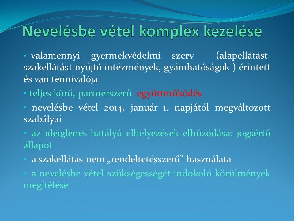 valamennyi gyermekvédelmi szerv (alapellátást, szakellátást nyújtó intézmények, gyámhatóságok ) érintett és van tennivalója teljes körű, partnerszerű együttműködés nevelésbe vétel 2014.