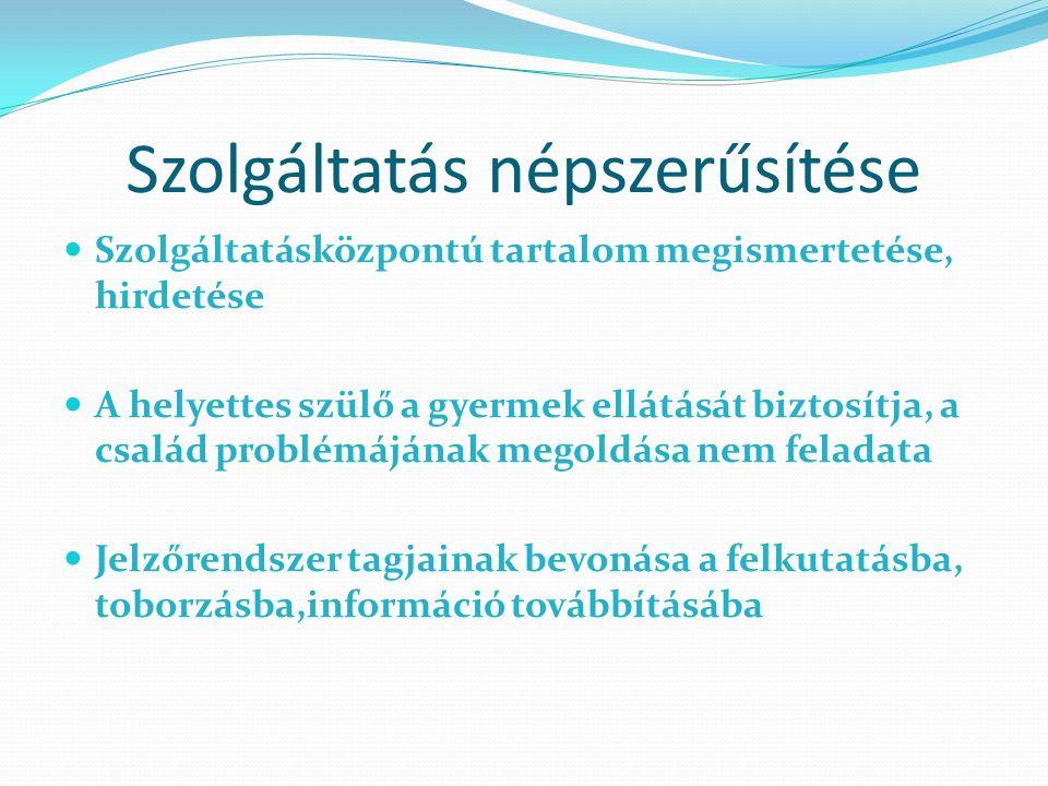 Szolgáltatásközpontú tartalom megismertetése, hirdetése A helyettes szülő a gyermek ellátását biztosítja, a család problémájának megoldása nem feladata Jelzőrendszer tagjainak bevonása a felkutatásba, toborzásba,információ továbbításába Szolgáltatás népszerűsítése