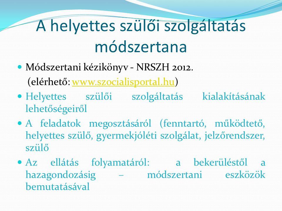 Módszertani kézikönyv - NRSZH 2012. (elérhető: www.szocialisportal.hu)www.szocialisportal.hu Helyettes szülői szolgáltatás kialakításának lehetőségeir