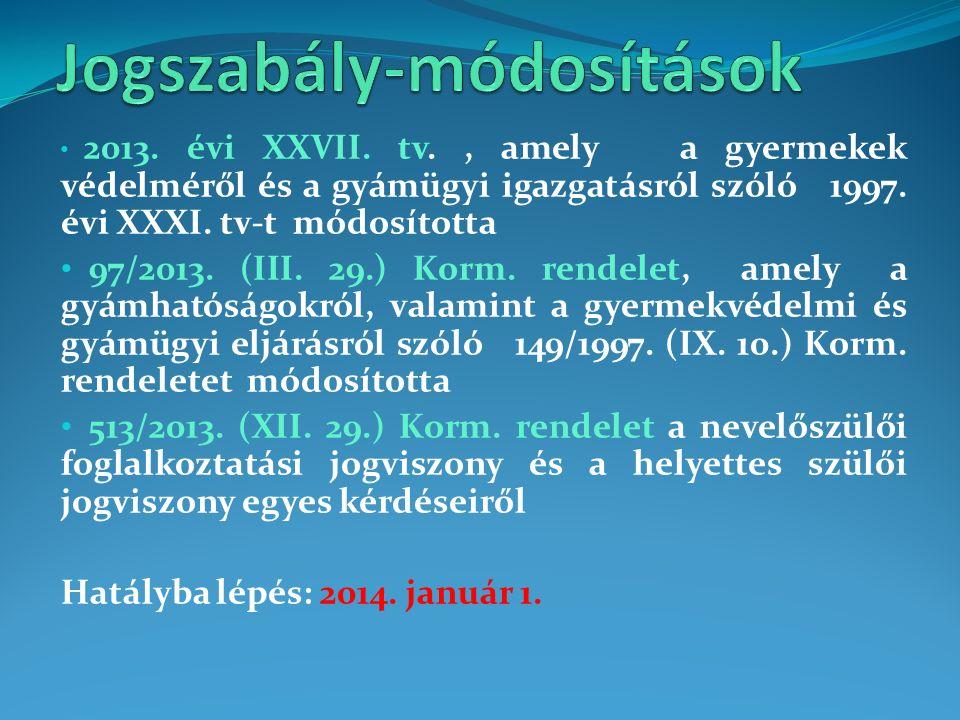 2013. évi XXVII. tv., amely a gyermekek védelméről és a gyámügyi igazgatásról szóló 1997. évi XXXI. tv-t módosította 97/2013. (III. 29.) Korm. rendele