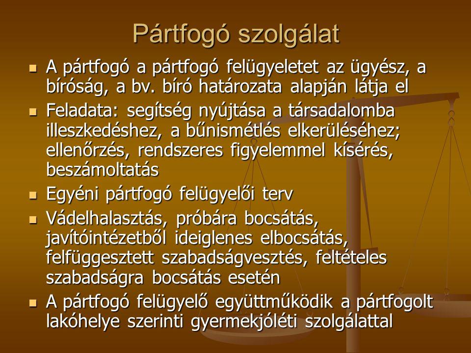 Pártfogó szolgálat A pártfogó a pártfogó felügyeletet az ügyész, a bíróság, a bv. bíró határozata alapján látja el A pártfogó a pártfogó felügyeletet
