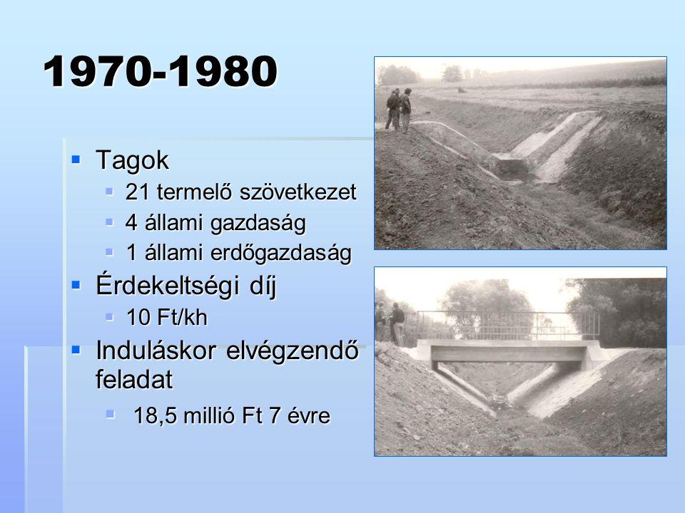 1970-1980  Tagok  21 termelő szövetkezet  4 állami gazdaság  1 állami erdőgazdaság  Érdekeltségi díj  10 Ft/kh  Induláskor elvégzendő feladat  18,5 millió Ft 7 évre