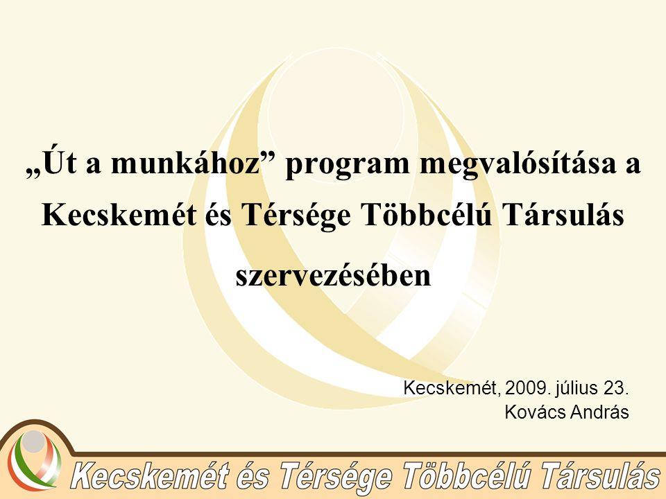 """""""Út a munkához"""" program megvalósítása a Kecskemét és Térsége Többcélú Társulás szervezésében Kecskemét, 2009. július 23. Kovács András"""