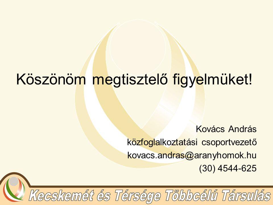Köszönöm megtisztelő figyelmüket! Kovács András közfoglalkoztatási csoportvezető kovacs.andras@aranyhomok.hu (30) 4544-625