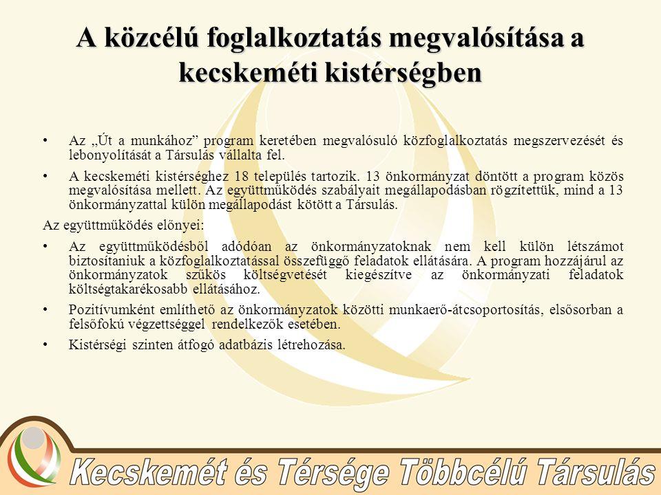 """A közcélú foglalkoztatás megvalósítása a kecskeméti kistérségben Az """"Út a munkához"""" program keretében megvalósuló közfoglalkoztatás megszervezését és"""
