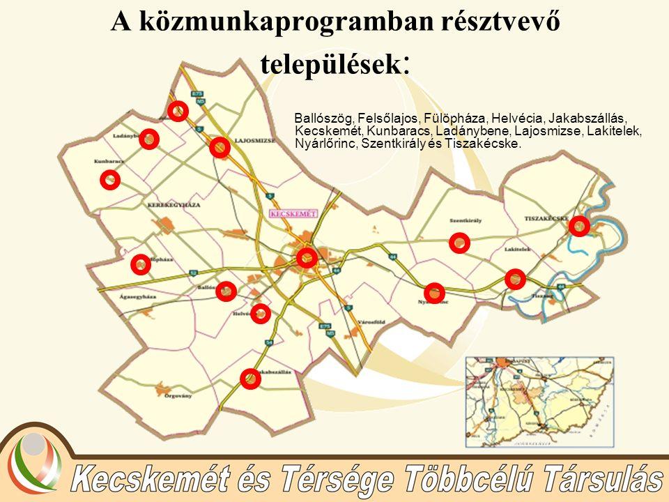 A közmunkaprogramban résztvevő települések : Ballószög, Felsőlajos, Fülöpháza, Helvécia, Jakabszállás, Kecskemét, Kunbaracs, Ladánybene, Lajosmizse, Lakitelek, Nyárlőrinc, Szentkirály és Tiszakécske.