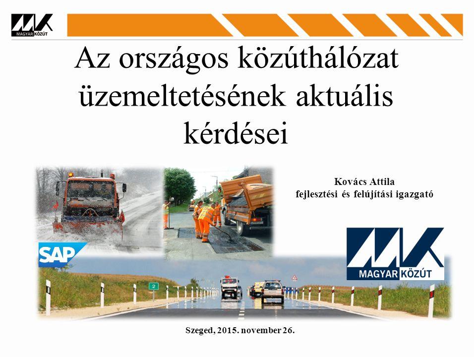 Az országos közúthálózat üzemeltetésének aktuális kérdései Szeged, 2015.