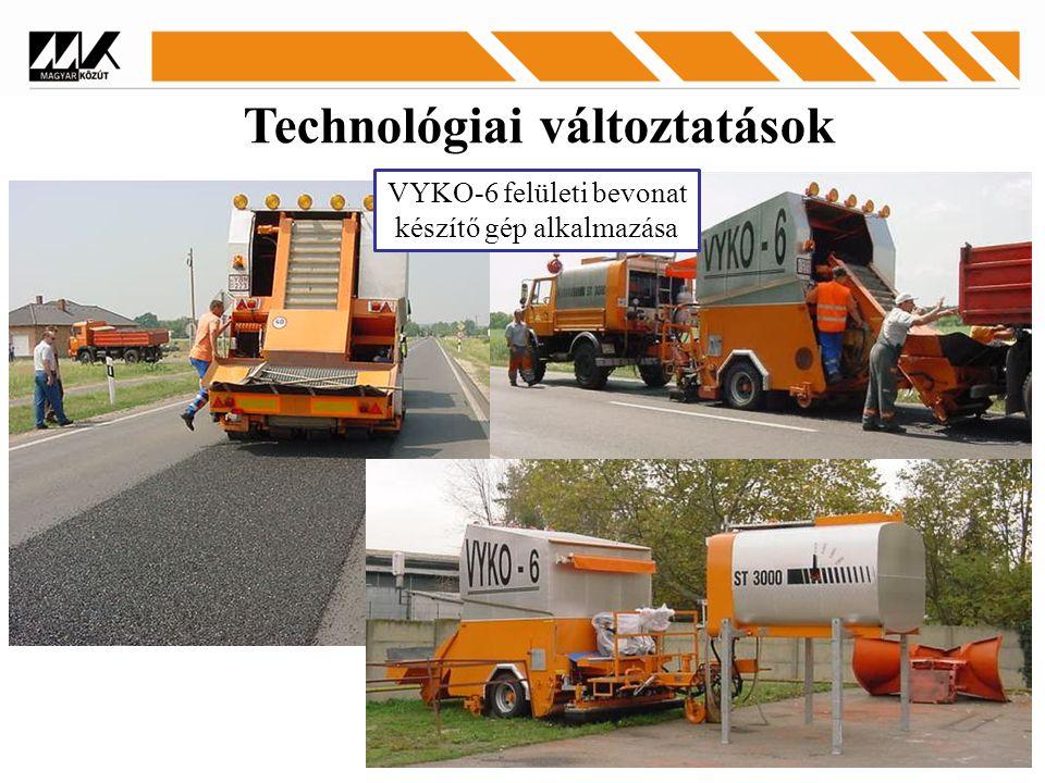 Technológiai változtatások VYKO-6 felületi bevonat készítő gép alkalmazása