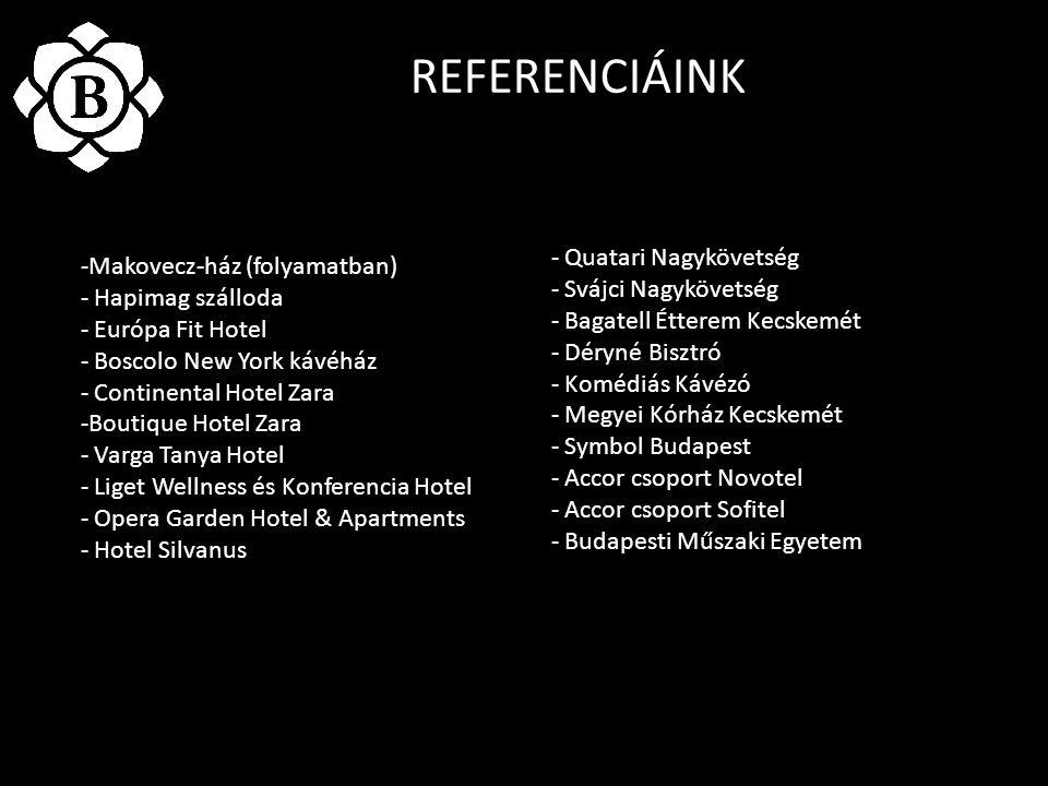 REFERENCIÁINK -Makovecz-ház (folyamatban) - Hapimag szálloda - Európa Fit Hotel - Boscolo New York kávéház - Continental Hotel Zara -Boutique Hotel Za