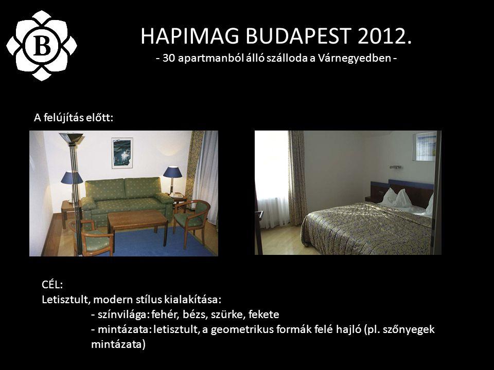 HAPIMAG BUDAPEST 2012. - 30 apartmanból álló szálloda a Várnegyedben - A felújítás előtt: CÉL: Letisztult, modern stílus kialakítása: - színvilága: fe