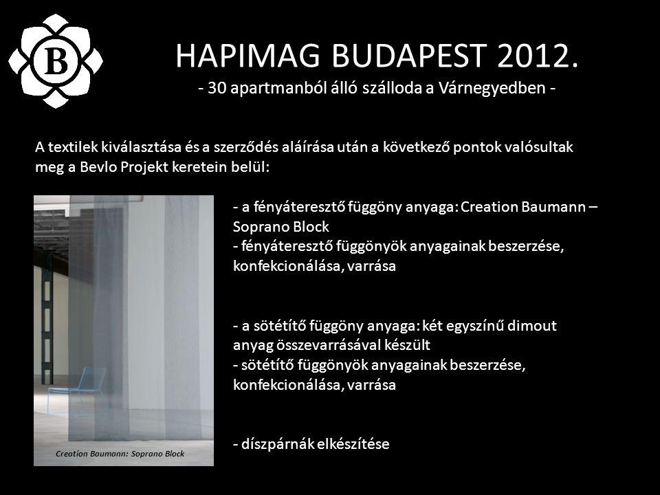HAPIMAG BUDAPEST 2012. - 30 apartmanból álló szálloda a Várnegyedben - A textilek kiválasztása és a szerződés aláírása után a következő pontok valósul
