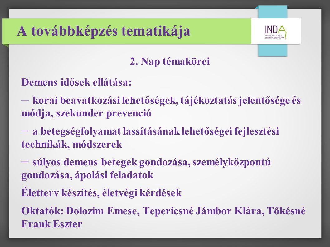 A továbbképzés tematikája 2.