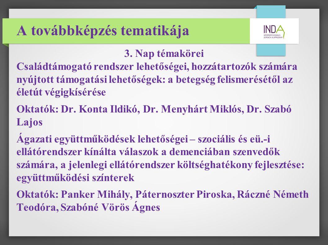 A továbbképzés tematikája 3.