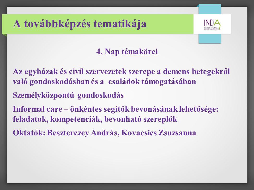 A továbbképzés tematikája 4.