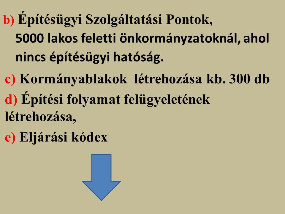 b) Építésügyi Szolgáltatási Pontok, 5000 lakos feletti önkormányzatoknál, ahol nincs építésügyi hatóság.