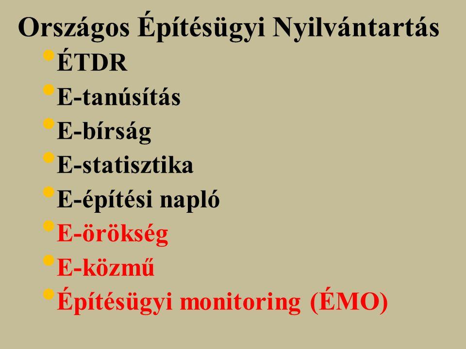 Országos Építésügyi Nyilvántartás ÉTDR E-tanúsítás E-bírság E-statisztika E-építési napló E-örökség E-közmű Építésügyi monitoring (ÉMO)
